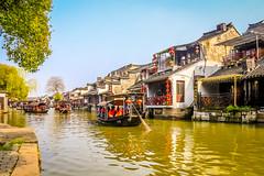 Chinese Old Town Water Village - Xi Tang - Zhe Jiang Province - China (laurent.liu) Tags: china old water canon boat oldstyle reflet xitang oldtown 18200 zhejiang oldboat beautifulchina thisischina canoneos700d thatischina