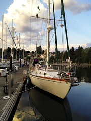 Haven (pete4ducks) Tags: summer sky haven reflection water clouds sailboat boat washington poulsbo iphone 2014 libertybay on1photo