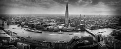 Panoramic London (btdonnelly83) Tags: city uk travel bridge england bw london tourism thames skyscraper towerbridge buildings river boats blackwhite nikon europe ship cityscape britain pano belfast icon tourist panoramic traveller tall viewpoint shard iconic cityoflondon