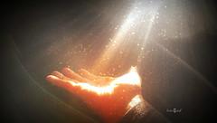 Catch the stardust (Fotogaaf ~ Amanda) Tags: light sun sunlight star hand darkness dust sunrays stardust