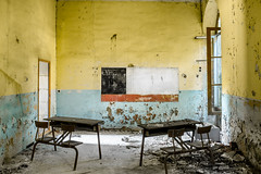 Get a Learn (Etienne Regis) Tags: door old city travel blue school light urban france building art abandoned window beautiful childhood yellow wall architecture ruins child desk decay deep indoor oldschool exploration past learn urbex