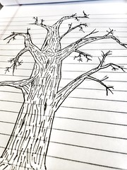 Tree Sketch on Notebook 187/366 (j_wrobel) Tags: monochromatic monochrome sharpie sharpiepen knot knots bark wood branches deadtree tree lines notepad notebook sketchpad drawing draw sketch snapseed iphoneography cameraphone iphone6 iphone