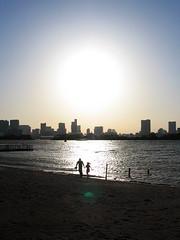 1 (  / Yorozuna) Tags: sunset sea people sunlight reflection building beach silhouette backlight tokyo bay coast seaside shine  odaiba daiba seashore     tokyobay                     minatoward   odaibaseasidepark