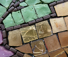 Mosaic textures (Monceau) Tags: macro texture macromondays mosaic pieces glass gold green black purple cracked shiny