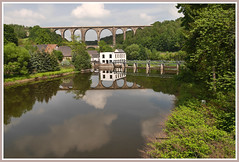 Ghrener Eisenbahnviatukt (Karabelso) Tags: bridge river reflection water landscabe brcke viatukt eisenbahn flus mulde spiegelung wasser landschaft panasonic gx7 germany ghren sachsen
