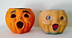 Halloween Jack O' Lanterns (ok2la) Tags: orange green halloween vintage paper pumpkin jack scary o decoration bethany creepy lantern mache jol lowe img2016071603794
