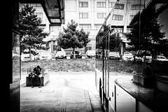 Reflexion (2) (Solylock) Tags: 2016 paris streetphotography photoderue noiretblanc blackandwhite nb bw monochrome monochrom metropolitan metro affiche aeroport airport cdg roissy bus voitures cars escaliers stairs rflexion reflection ombre chinoise banc public fatigue marinire patissier sortie froissart propret bep