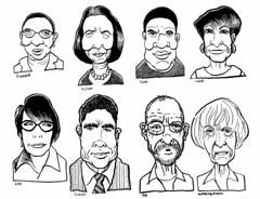 Strangers and us (Don Moyer) Tags: face faces grid ink drawing moleskine notebook moyer donmoyer brushpen selfportrait