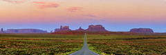 Run Forrest Run (Johndgordon) Tags: monument valley navajo utah arizona east mitten west buttes mesa pano panorama panoramic park sunrise highway us163 163 tom hanks forrest gump road priaries grassland badlands border rock formations