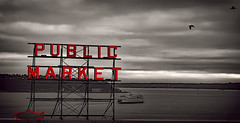 Public Market (beelzebub2011) Tags: seattle bw usa monochrome ferry neon pugetsound washingtonstate publicmarket selectivecolor