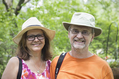 Strangers # 89 and 90 / 100, Edina & Predrag (Jacques Lebleu) Tags: 100strangers strangers inconnus couple tourism visitors hats slr portrait