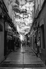 Umbrella's street (bong.13) Tags: avignon vaucluse provence france sonyrx100 street soleil ombre urban ombrelles parapluie noiretblanc blackandwhite rue art
