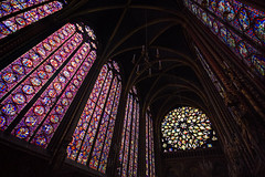 "enormous gorgeous impressive stained glass either side of the magnificent rose window at Sainte Chapelle, Paris, France (grumpybaldprof) Tags: ""saintechapelle"" paris france gothic ""gothicstyle"" stunning chapel church ""stainedglass"" amazing interior colour vibrancy contrast light ""palaisdejustice"" conciergerie capetian ""royalpalace"" ""iledelacite"" ""îledelacité"" 1248 rayonnant architecture ""gothicarchitecture"" building luminous ""louisix"" king ""kinglouisix"" ""passionrelics"" relics christianity extensive ""13thcentury"" ""fleurdelis"" soaring magnificent beautiful inside rosewindow rose window incredible enormous coloured colouredglass artistic impressive ribs arches balanced panels lights ceiling stack"