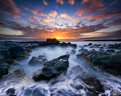 Earth | Water | Sky (DanielKHC) Tags: reunion island pointeausel seascape long exposure sunset sky water rocks sea digitalblending vertorama vertical panorama