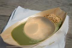 Raindrop cake with kinako and matcha sauce (mikasato_nyc) Tags: raindropcake kinako matchasaucesmorgasburg williamsburg brooklyn sweets 水信玄餅
