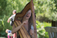 Lady playing harp (stenaake) Tags: medieval harp playing music festival sweden gotland visby stri´ngs singing song
