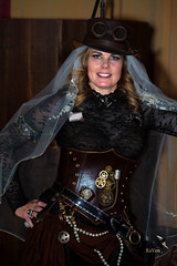 Steampunk Beautiful Bride 762 (thePhotographerRaVen) Tags: steampunk tucson oldtucson wwwc wwwc5 wildwest bride tophat goggles leather gears vail arizona fantasy photosbyraven