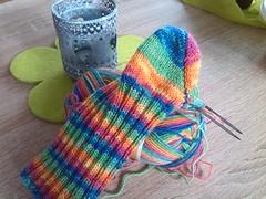 WIP (DanielHiller) Tags: wool socks diy knitting handmade colorfull stripes wip socken bunt streifen wolle stricken handgemacht strümpfe