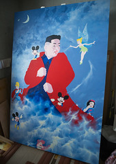 Kim il-sung sun and disney characters by sun mu artist, National capital area, Seoul, South korea (Eric Lafforgue) Tags: stilllife art vertical painting studio asian colorful asia artist gallery propaganda painted political politics politicalsatire paintings culture tinkerbell nobody nopeople disney mickey canvas communism indoors workshop seoul cult mermaid fullframe southkorea snowwhite multicolor northkorea imagery politically provocation defector kimilsung 0people sunmu nationalcapitalarea colourpicture propagandaartist sk162310 socialistrealiststyle
