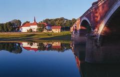 Old Bridge (Sanijel&Marija) Tags: river architecture bridge buildings landscape sky sisak croatia nikon nikkor n60 2880 fuji superia kupa analog reflection outdoor