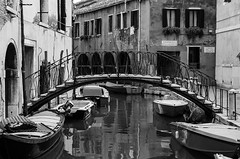 Venice (Caterix) Tags: old bridge venice blackandwhite italy water reflections boats holidays europe european oldbuildings canals float greyscale oldarchitecture cityofcanals