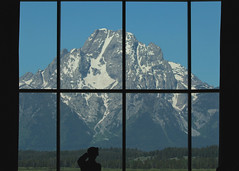 Mount Moran (RPahre) Tags: window silhouette nationalpark photographer bluesky lodge mountmoran grandtetons grandtetonnationalpark jacksonlakelodge