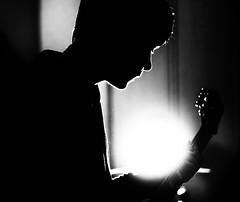 In the spotlight (jimbob195) Tags: black white lowkey glow guitar spotlight dan silhouette rim prime canon 600d canon600d backlit