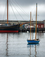 Blue Dinghy (mikeSF_) Tags: california san francisco van ness ghirardelli landscape ship balclutha hye street cable car dinghy blue fog boat mike oria pentax k3ii 150450 seascape bay outdoor