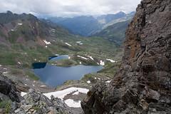 Widok z przełęczy Baiau na Stawy Baiau