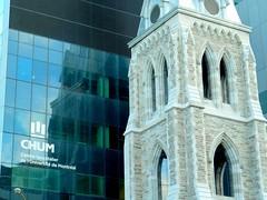 Stone versus glass_0803 (Steven Czitronyi) Tags: montreal hospital church