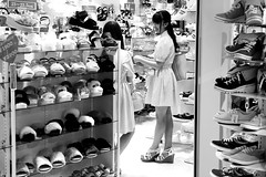 In the shoe store (pascalcolin1) Tags: japan japon tokyo chaussures shoes magasin store photoderue streetview urbanarte noiretblanc blackandwhite photopascalcolin
