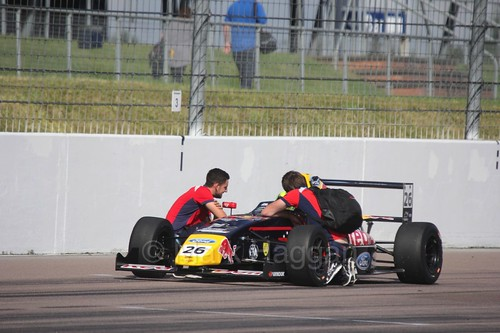 Luis Leeds on the British Formula Four grid at Rockingham, August 2016