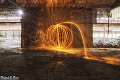 Steel / wire wool fun at Gary's abandoned Screw and Bolt factory (Rick Drew - 20 million views!) Tags: windows hot building abandoned wool circle spiral photography wire model factory bright decay steel spin orb indiana warehouse sphere spinning rod gary sparks sparky urbex screwandbolt