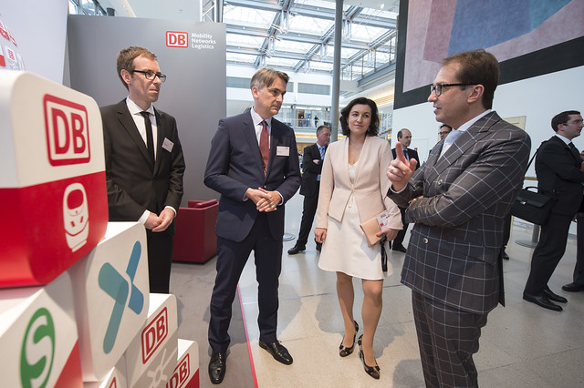 Daniel Geraskov, Johann Metzner, Dorothee Bär and Alexander Dobrindt at the DB stand