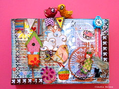 Joy (* Cludia Helena * brincadeira de papel *) Tags: brazil brasil mixedmedia quadro canvas papermache papiermach cludiahelena 15x10cm