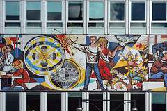Haus des Lehrers / West frieze (Images George Rex) Tags: berlin architecture germany de deutschland peace mosaic dove modernism science frieze publicart offices hausdeslehrers socialistrealism hermannhenselmann ourlife socialistarchitecture teachershouse walterwomacka imagesgeorgerex photobygeorgerex
