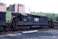 N&W 1566 on 6-19-80 (C.W. Lahickey) Tags: nw emd sd35 greentree
