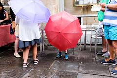 Bristol; July 2016 (Daniel Durrans) Tags: urban cornstreet street bristol umbrella streetphotography lilac raining rain pavement red
