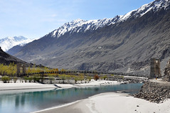 Suspension bridge over Gilgit River (Furqan LW) Tags: indusriver water mountain gilgit pakistan nature landscape inspiration