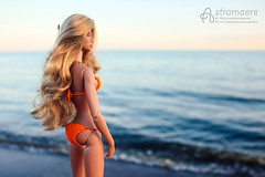 Angelica enjoying the sea (astramaore) Tags: blue sea orange color beauty fashion hair toy doll body tan infusion blonde natalia 16 tilda swimsuit wavy royalty brazen sunkissed tanned dollphotography integritytoys brisby astramaore
