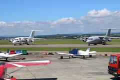 ZE708 & ZE700. (aitch tee) Tags: aircraft military bae146 royalairforce walesuk cardiffairport ttail ze700 ze708 maesawyrcaerdydd pmsvisittowales