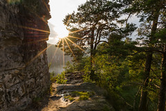 I like sunstars (derliebewolf) Tags: travel sunset mountains nature fog clouds germany de deutschland rocks natur sachsen flare wilderness goldenhour sunstar hohnstein
