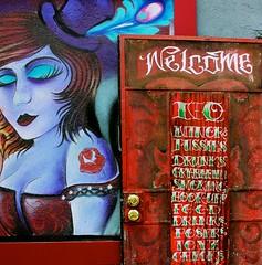 vintage tattoo (Karol Franks) Tags: ca girl sign tattoo vintage losangeles painted socal welcome parlor