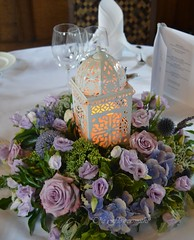 Table Flowers with Lantern (The Flowersmiths Wedding Flowers) Tags: theflowersmiths weddingfloristinkent weddingflowers tablearrangements lowtablearrangements lanternsandflowers lilacflowers hevercastlewedding hevercastle centerpieces