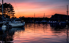 very quiet night (-gregg-) Tags: st michaels maryland marina reflection boats sky sunset clouds