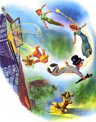 Peter Pan and the Darlings by Al Dempster (Tom Simpson) Tags: aldempster peterpan disney illustration vintage littlegoldenbook childrensbook animation wendydarling london flying fly