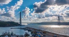 UMT_7698-2 (UmitCukurel) Tags: bridge turkey istanbul bosphorus sony nikon lightroom d750 sonyalpha bogazici kopru night poyrazkoy battleship gemi sky sunset dusk gunbatimi cloud