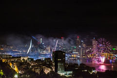 WHD-Vuurwerk-5 (Ivo Kreber) Tags: fireworks rotterdam fire smoke color city netherlands skyline buildings river maas hotelnewyork hotelny dark light bright erasmusbrug brige canon canonef1740mmf4l 6d night nightphotography nederland wereld haven dagen wereldhavendagen 2016 september