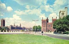 Lambeth Bridge (Leonard Bentley) Tags: lambethbridge palaceofwestminster lambethpalace roundabout riverthames archbishopofcanterbury london uk jarthurdixon postcard lambethpier westminsterbridge bigben 1965