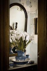 Blue Vase (cutthroatsrule) Tags: pitcher blue washbasin cups mirror